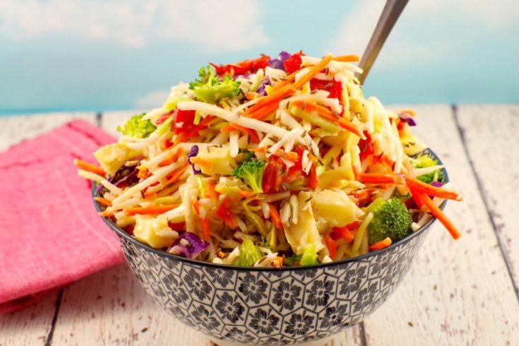 Healthy Artichoke & Roasted Red Pepper Coleslaw: Weight Watchers Friendly & Gluten-free