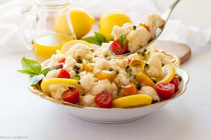 Cauliflower Lemon Basil Salad with Toasted Capers