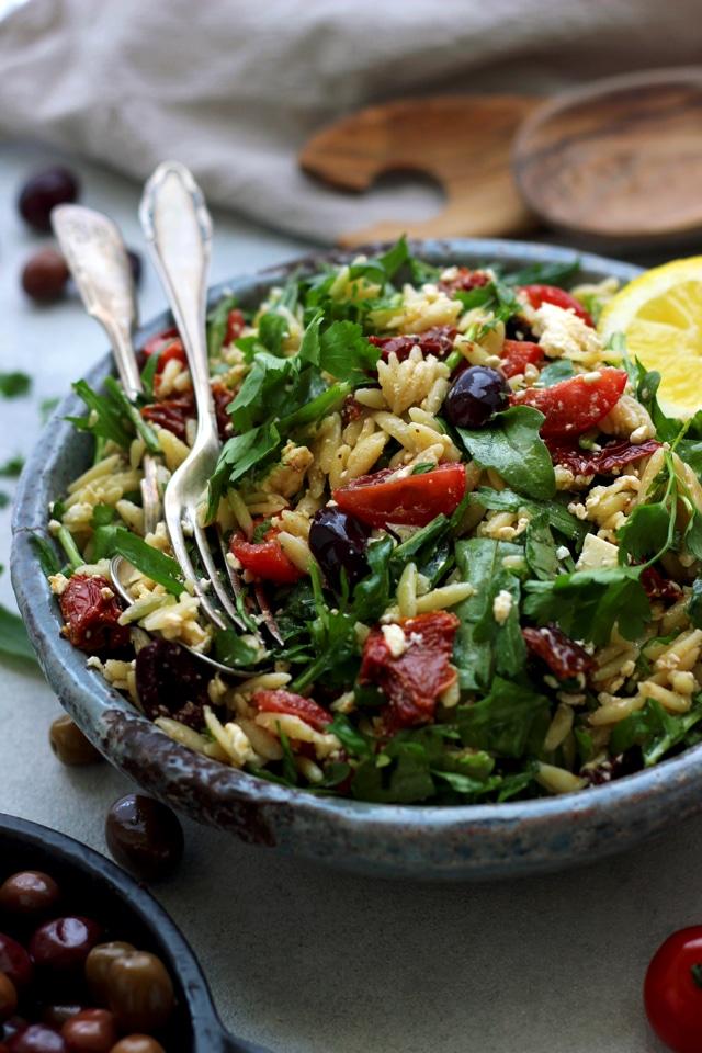 Easy Greek Orzo Salad • Happy Kitchen