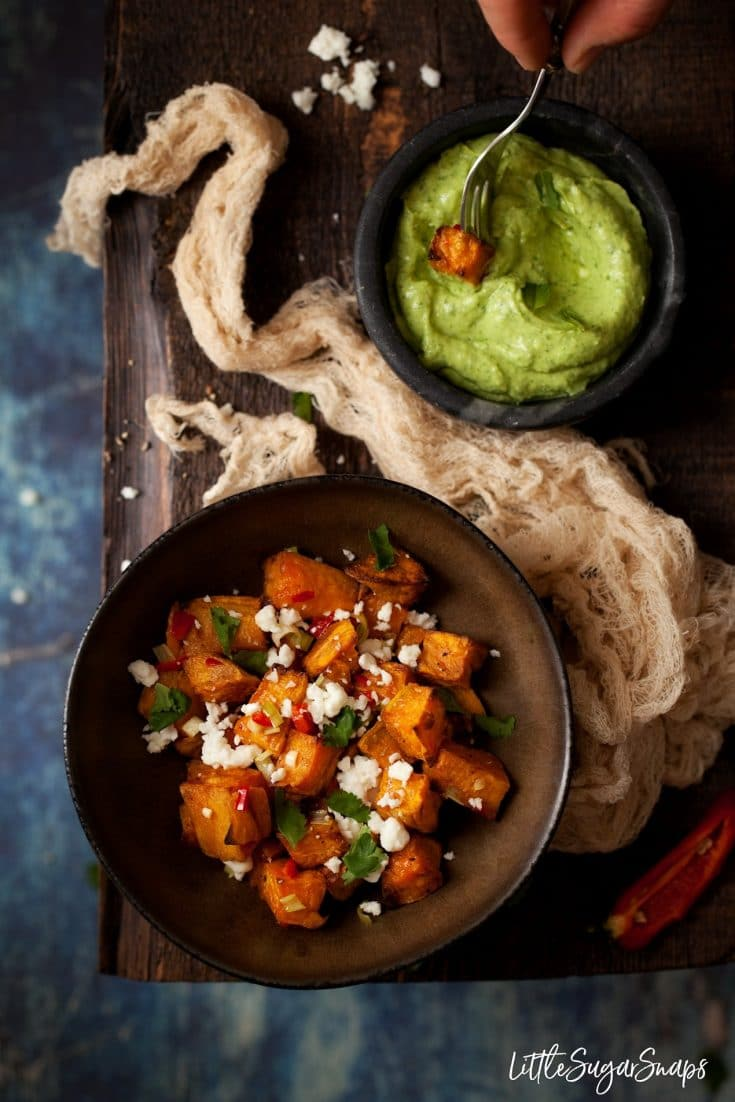 Chilli Sweet Potato Cubes with Avocado Feta Dip