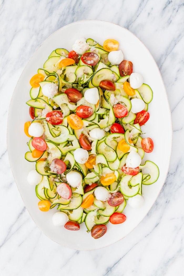 Zucchini Tomato Basil Salad (with Lemon Vinaigrette)