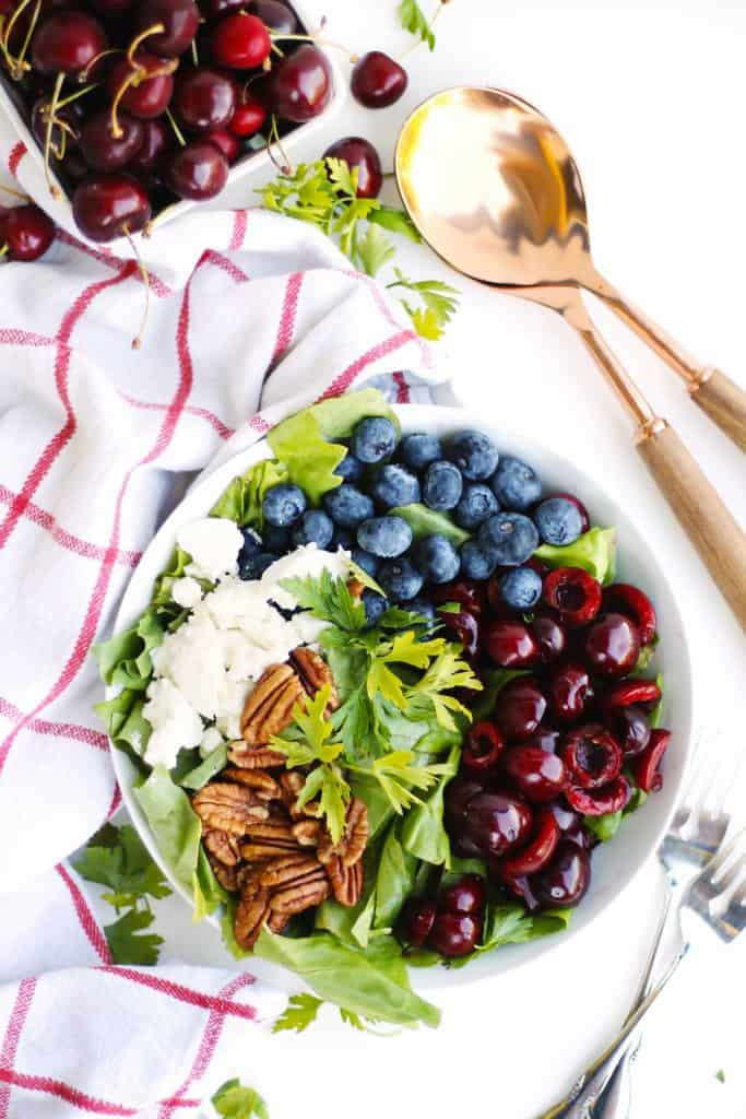 Summer glow salad with blueberries and cherries