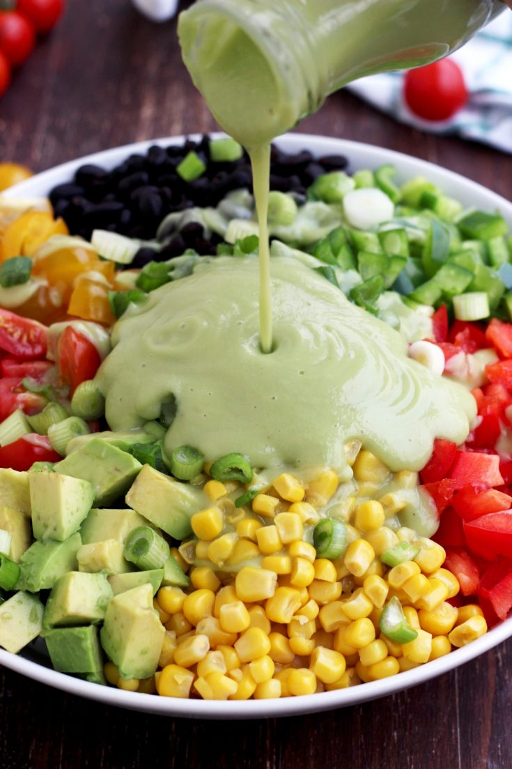 Vegan Mexican Chopped Salad with Avocado Dressing • Happy Kitchen
