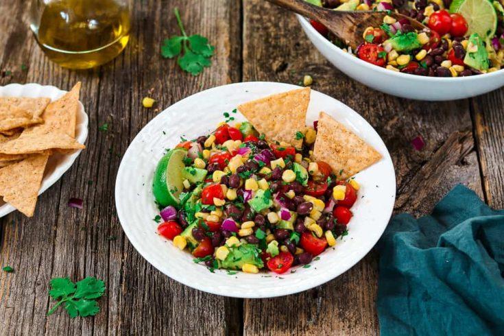 Avocado, Black Bean & Corn Salad w/ Cilantro Lime Dressing