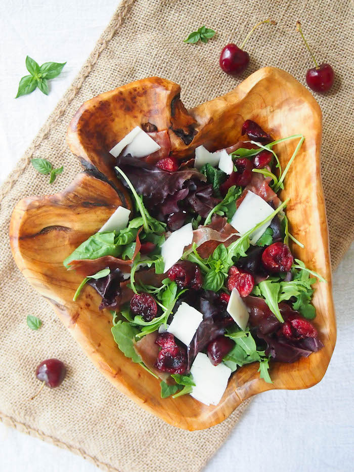 Dark Cherry and Crispy Prosciutto Salad with Balsamic
