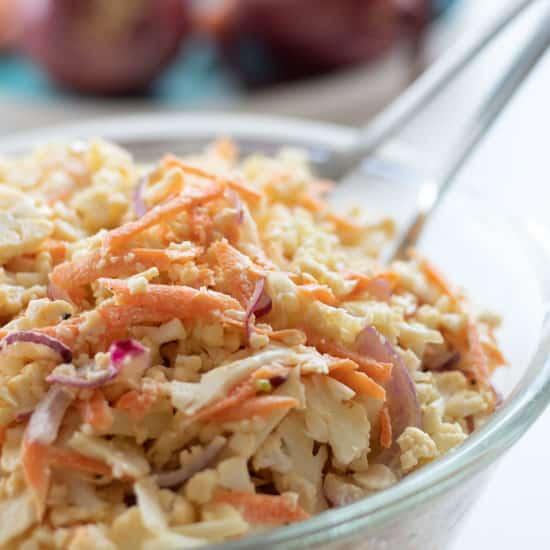 Caulislaw – Raw Cauliflower Salad [Coleslaw Style]