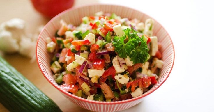 Summer Vegetable Salad with Tomatoes, Cucumber, and Feta