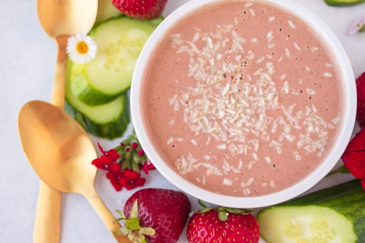 Vegan Chilled Strawberry Cucumber Soup