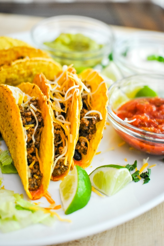 Beef Taco Meat in a Crunchy Shell