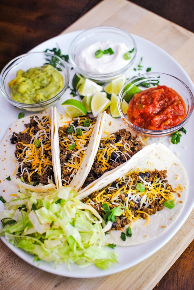 Easy Ground beef soft shell tacos