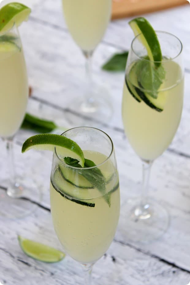 Cucumber Lime Basil Prosecco Spritzer Recipe - Summer Cocktail