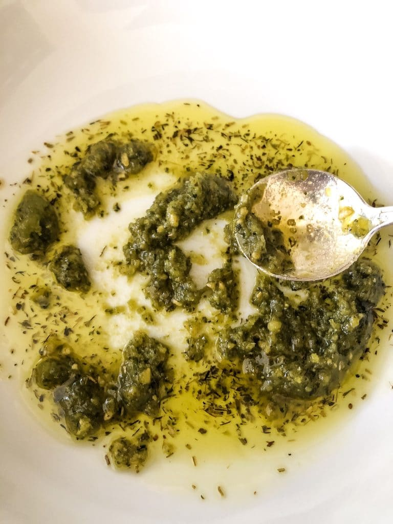 Pesto and Olive Oil in a Bowl