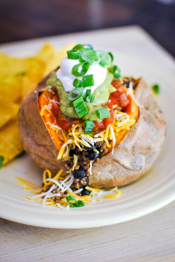 Sweet Potatoes with Taco Meat