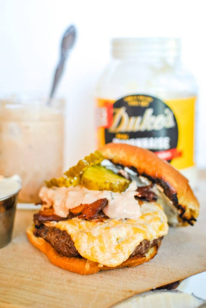 Burger with Pickles, Comeback Sauce, Bacon, and Cheese