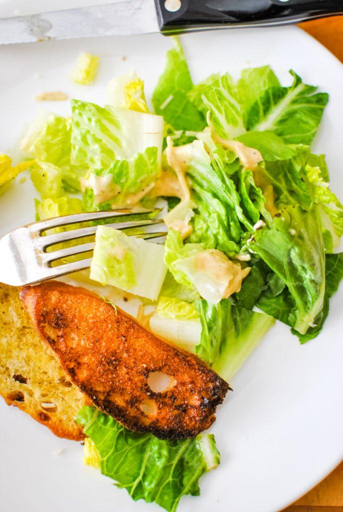Cut up caesar wedge salad