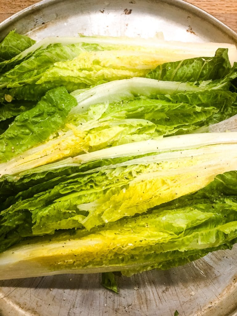 salt and peppered romaine leaves