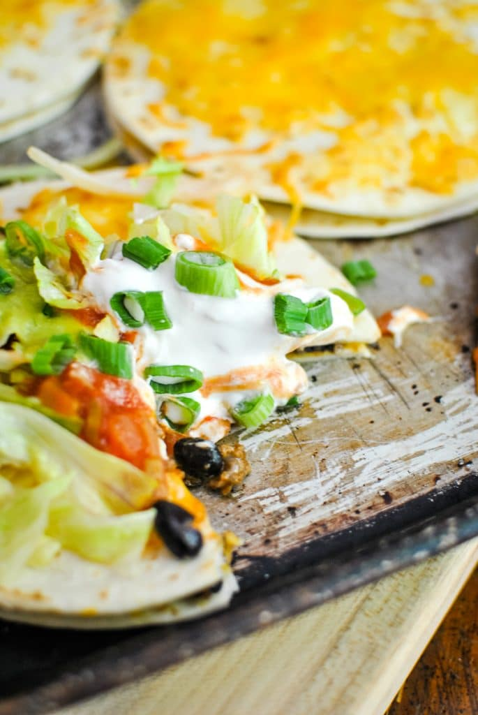 Mexican Pizzas on a sheet pan