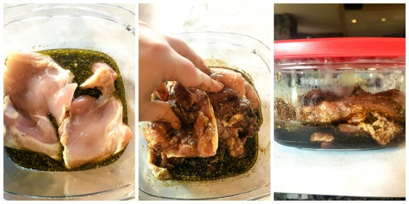 adding chicken to a balsamic marinade