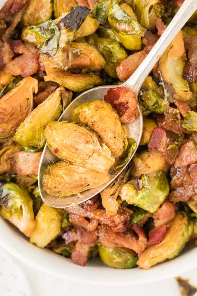 Brussels Sprouts on a Spoon in a Bowl