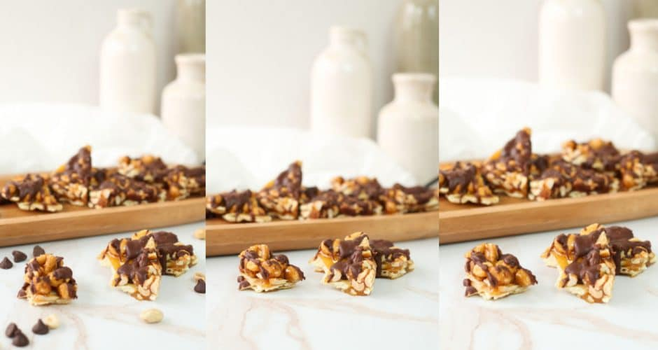 Saltine Cracker Toffee with Peanuts