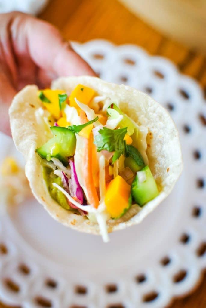Air Fryer Shrimp Tacos with Mango Salsa