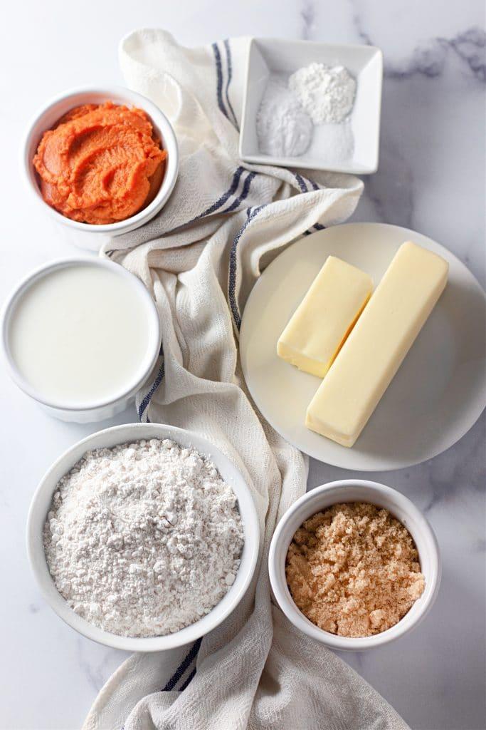 ingredients for pumpkin buttermilk biscuits
